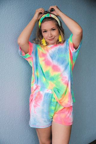 90s Baby Dreams Rainbow Tie Dye Lounge Set