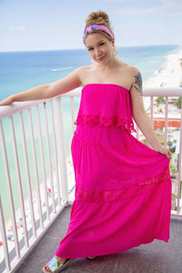 Caribbean Island Dreams Maxi Dress- Hot Pink