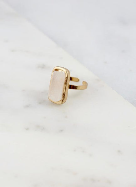 Treasure Me Adjustable Druzy Stone Ring-White