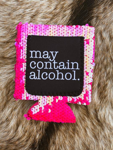 May Contain Alcohol Hot Pink Sequin Koozie