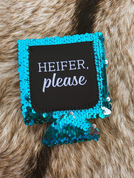 Heifer Please Turquoise Sequin Koozie
