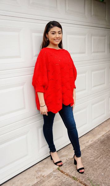 Forget Me Knot Rouge Red Sweater
