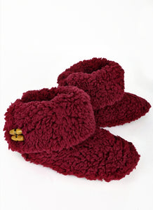 Kiss Me Burgundy Sherpa Slippers