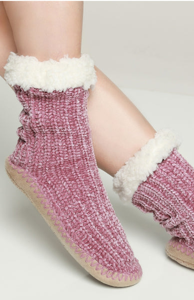 Touched by an Angel Ivory Chenille Sock Slippers