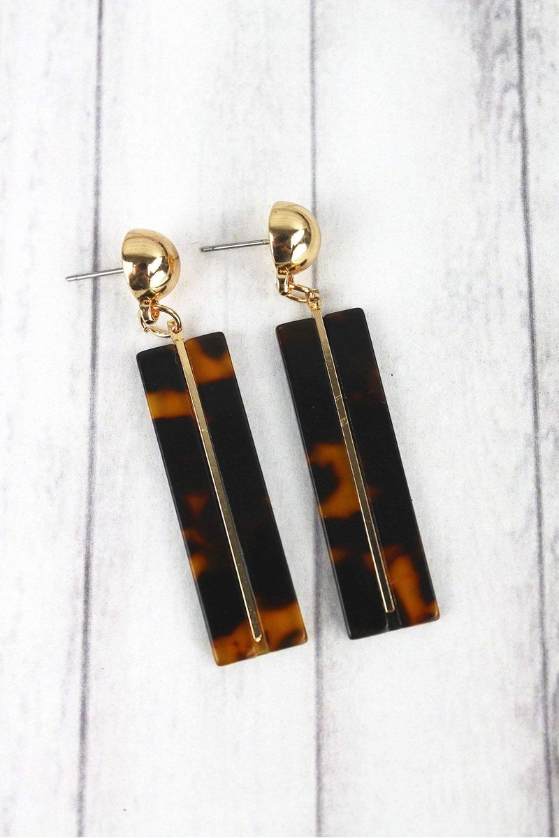 Talk About It Rectangular Tortoise Earrings
