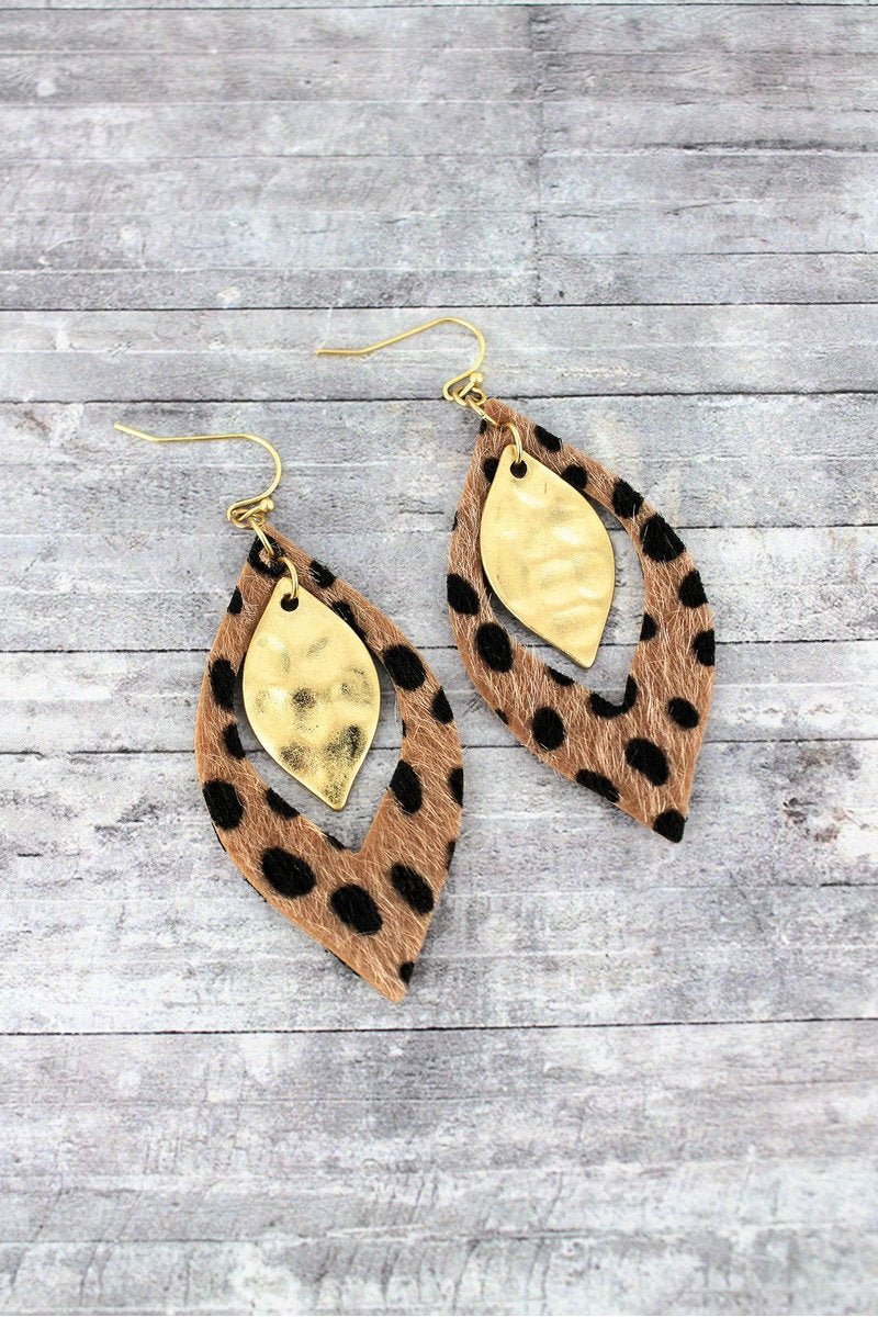 So Chic Dark Brown Cheetah Marquise Earrings