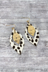 So Chic Ivory White Cheetah Marquise Earrings