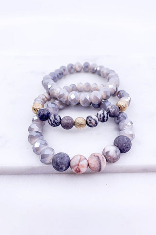 Hand & Heart Grey Bracelet Set