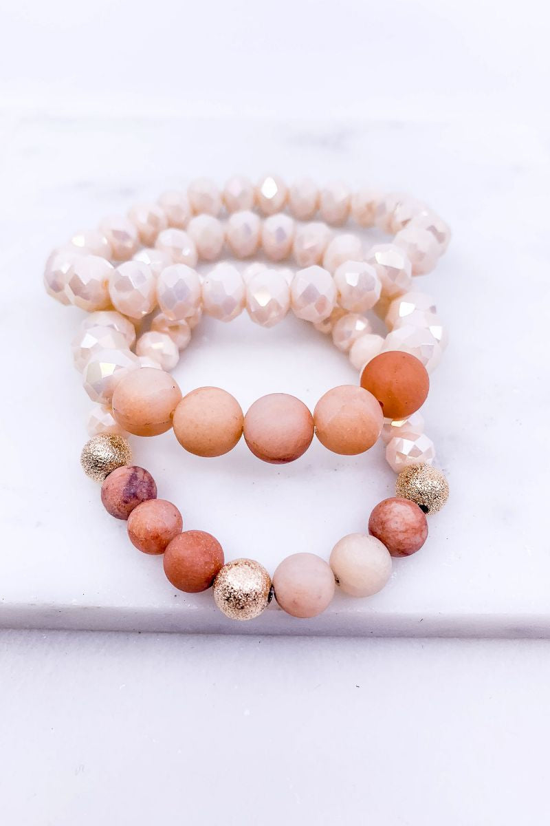 Hand & Heart Peach Bracelet Set