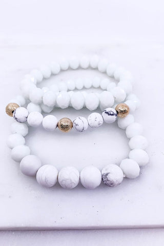 Hand & Heart White Bracelet Set