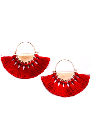 Love You Always Rouge Red Tassel Earrings