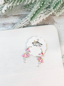Christmas Lights Flamingo Earrings