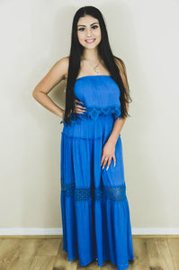 Caribbean Island Dreams Maxi Dress- Ocean Blue