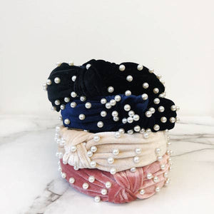 Pearl Knotted Velvet Headband- Blue