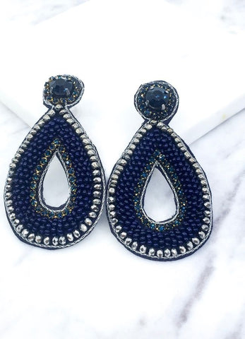 Midnight Dreams Blue Beaded Earrings
