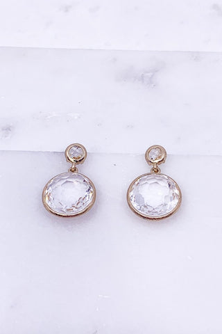 Casual Chic Sparkle Earrings- Clear White