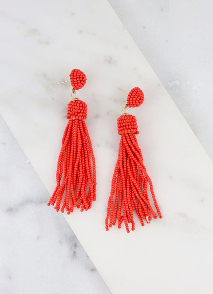 Chic and True Beaded Tassel Earring-Tangerine