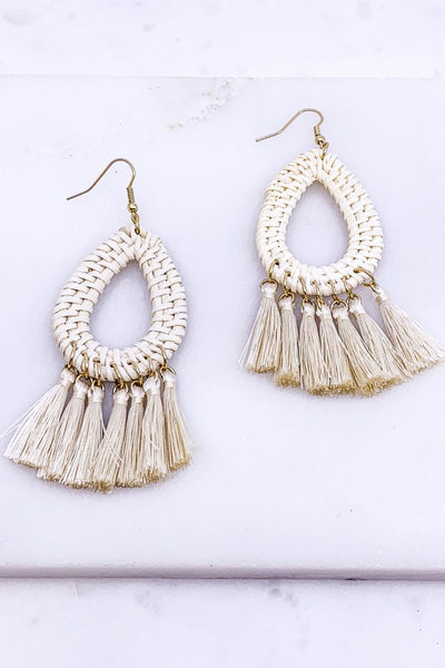 Cabo Awaits Ivory Tassel Earrings