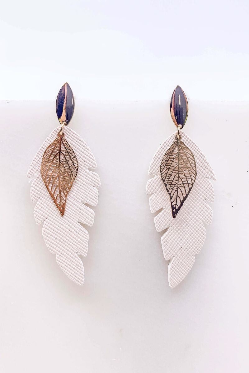 Into You Double Leaf Drop Earrings- White