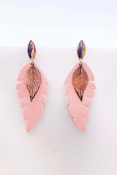 Into You Double Leaf Drop Earrings- Pink