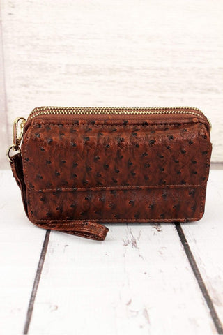 Faux Ostrich Crossbody Clutch- Chocolate