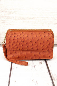 Faux Ostrich Crossbody Clutch- Honey