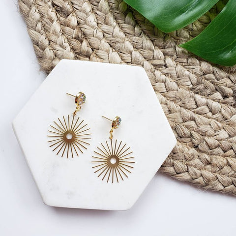 Brass Sun Beam Dangle Earrings + Druzy
