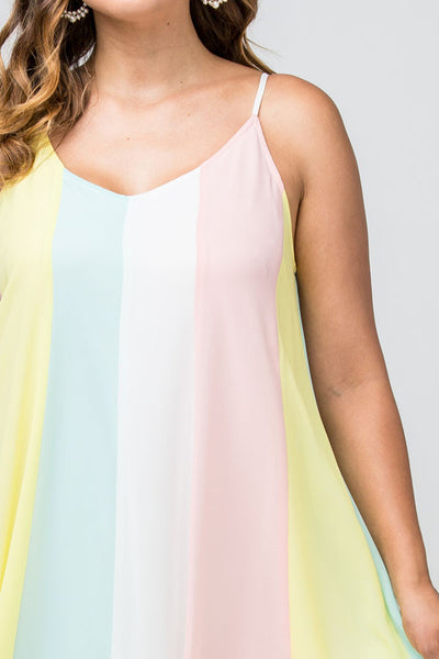 Spring Goddess Striped Pastel Maxi Dress