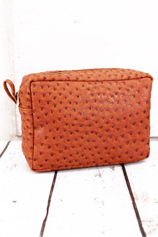 Easily Adored Caramel Brown Faux Ostrich Cosmetic Case