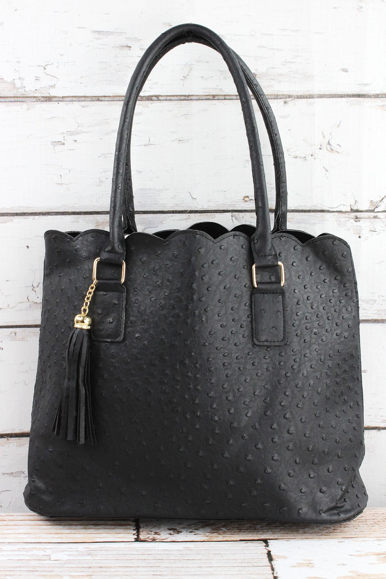 Perfectly Paired Black Faux Ostrich Scalloped Tote
