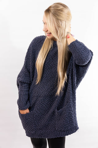 Dolman Knit Tunic Sweater- Winter Grey