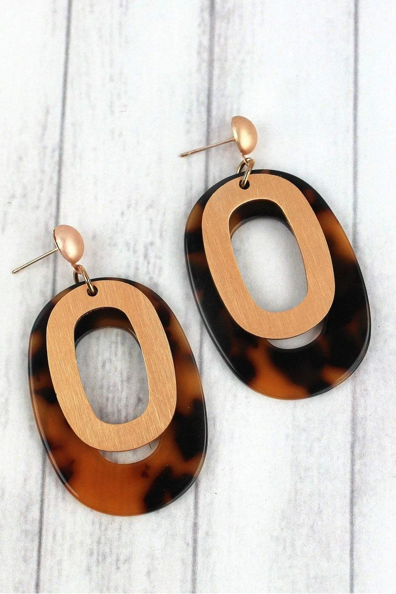 Worth It All Matte Goldtone & Tortoiseshell Oval Earrings
