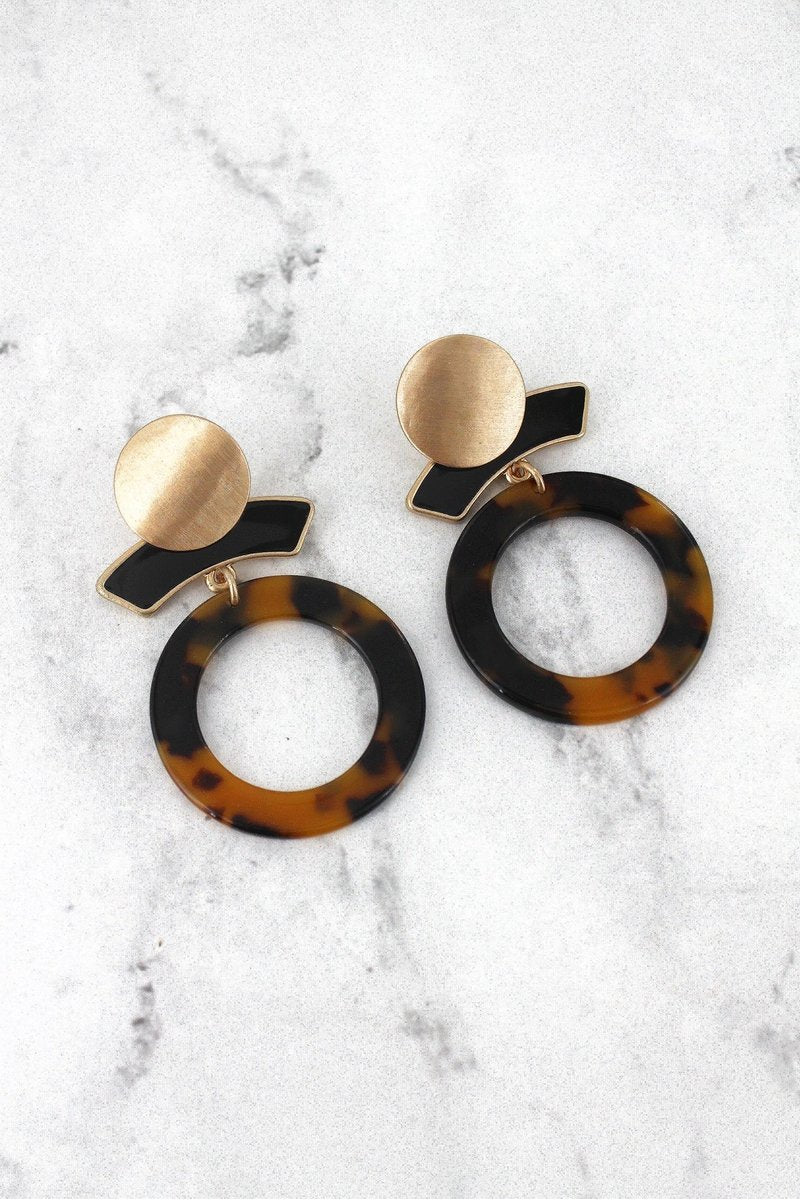 Work Week Chic Tortoiseshell Earrings-Black
