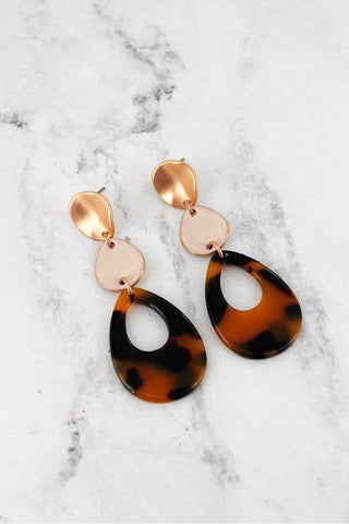 Nothing Like It Goldtone Cream Tortoiseshell Teardrop Earrings