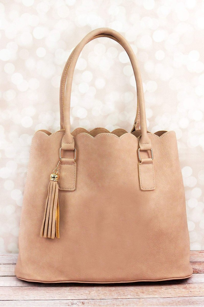 Perfectly Paired Beige Faux Leather Scalloped Tote