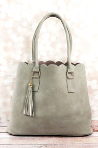 Perfectly Paired Grey Faux Leather Scalloped Tote