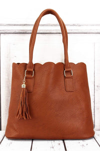 Perfectly Paired Caramel Faux Leather Scalloped Tote