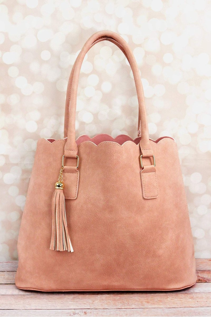 Perfectly Paired Pink Faux Leather Scalloped Tote