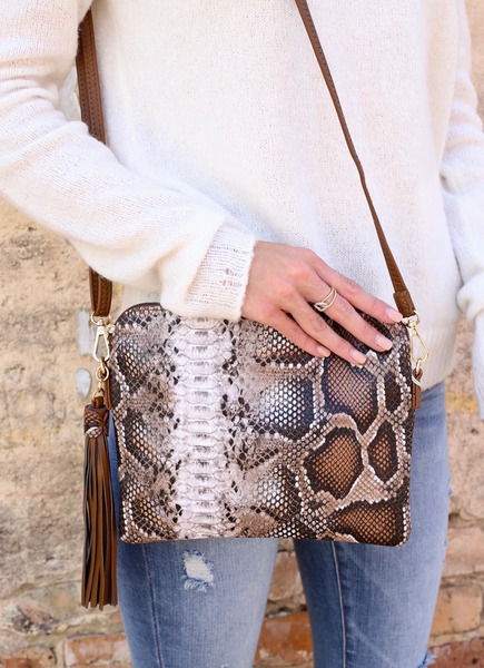 Cocoa Kisses Snakeskin Crossbody Bag- Coffee