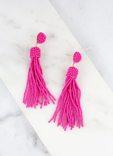 Chic and True Beaded Tassel Earring-Hot Pink