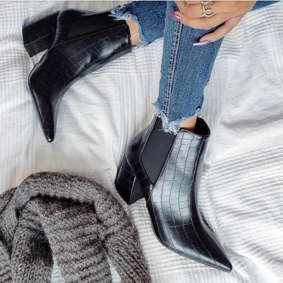 """The Selene"" Black Crocodile Print Booties"