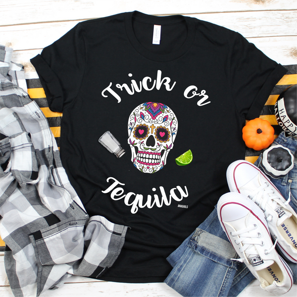 Trick or Tequila Halloween Graphic Tee