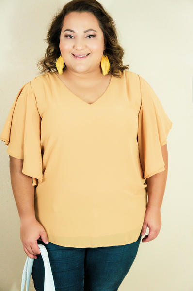 Dinner For Two Chiffon Shift Top-Mustard