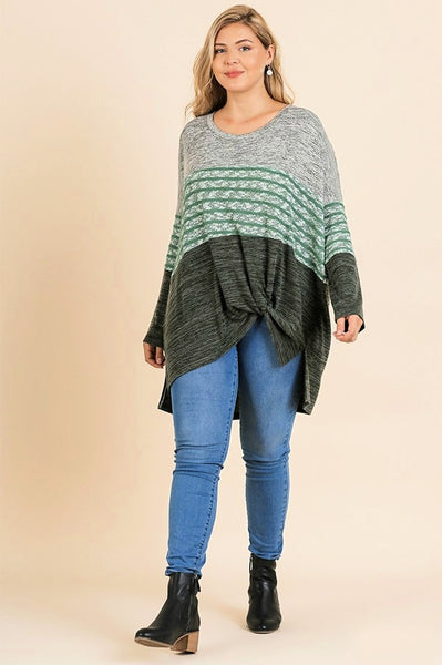 Seattle Sights & Slumber Cozy Colorblocked Tunic- Sage