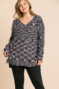 Lounging At The Lodge Tunic Sweater- Slate Mix