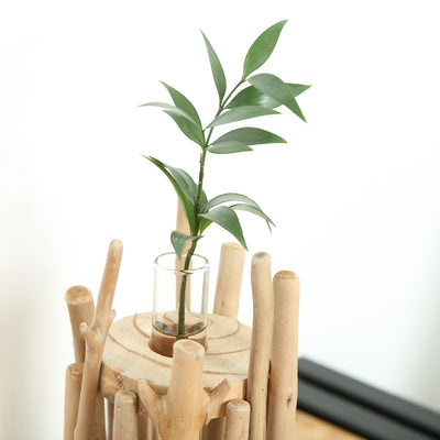 UNIQUE TABLETOP WOODEN VASE WITH GLASS TUBE HANDICRAFT