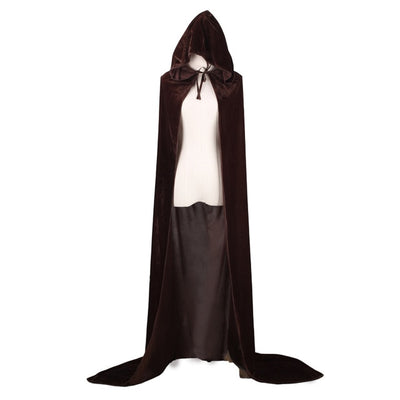 LONG VELVET HOODED CLOAK HALLOWEEN COSTUME