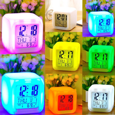 LED COLOR CHANGING ALARM CLOCK – CUBE CLOCK