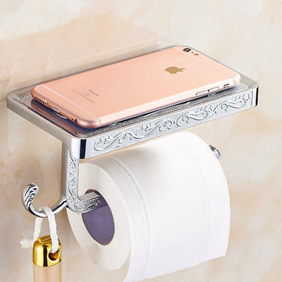 ANTIQUE TOILET PAPER HOLDER WITH PHONE SHELF