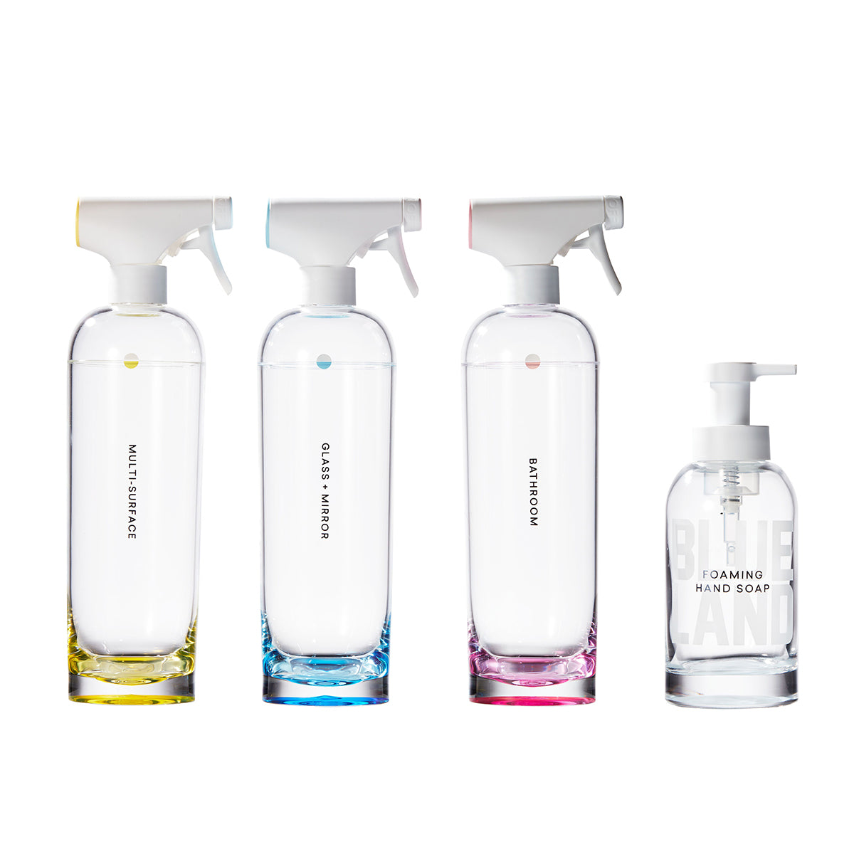 Clean Essentials Kit, Four empty Forever bottles against white background